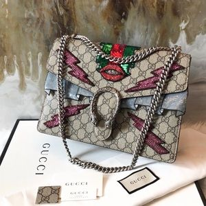 Gucci Lip Crystal Embellished GG Dionysus Bag